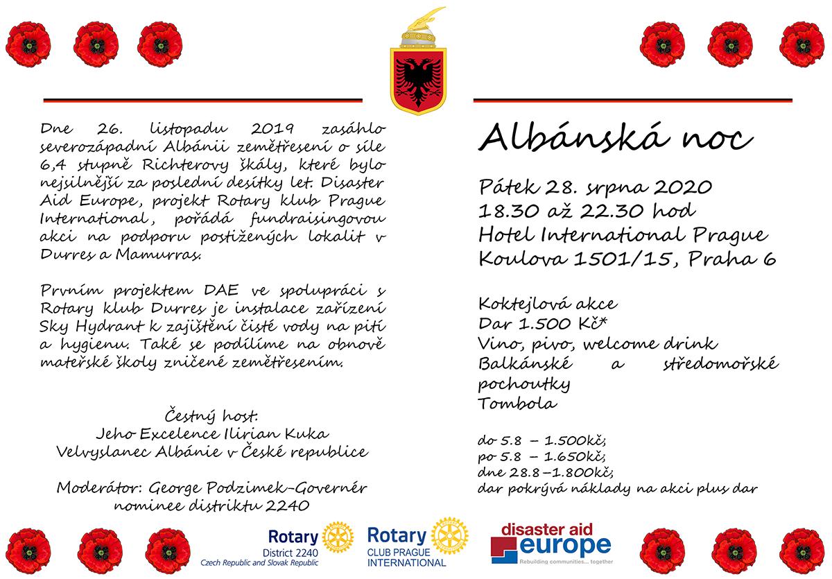 Czech Invitation Albanská noc 28.8.2020